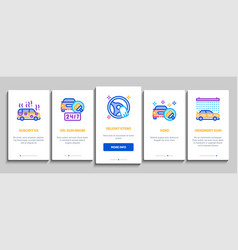 Car wash auto service onboarding elements icons vector