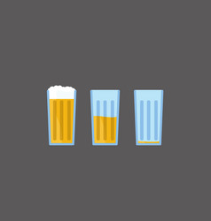 cartoon beer from full to empty glass vector image