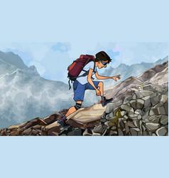 Cartoon man with a backpack climbs a rocky slope vector
