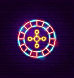 Casino roulette neon sign vector