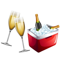 Champagne glasses and icebox vector image
