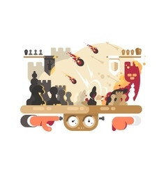 Chess battle on playing board vector