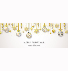 christmas banner with shining snowflakes bows vector image