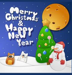 christmas snowman card vector image