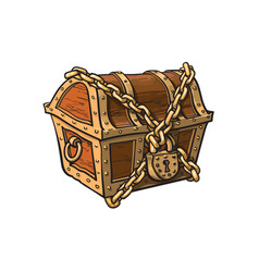 Closed locked chained wooden treasure chest vector