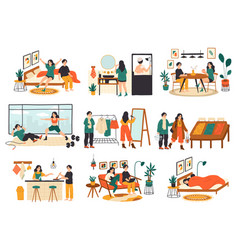 Couple daily life routine family everyday vector