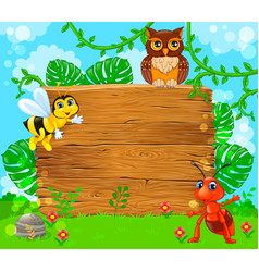 Cute ant bee and owl near empty wooden banner vector