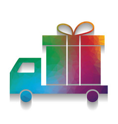 delivery gift sign colorful icon with vector image