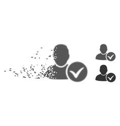 Disintegrating pixel halftone valid user icon vector