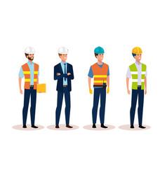 Engineer men group with helmet secure vector