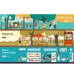 Family House Happiness Sweet Home flat interior vector