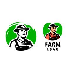 farmer logo design template farm organic food vector image