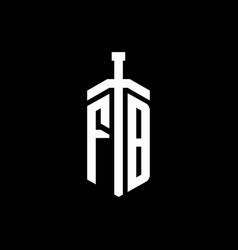 Fb logo monogram with sword element ribbon design vector