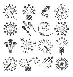 Firework icons party signs vector