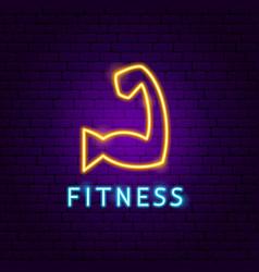 Fitness neon label vector
