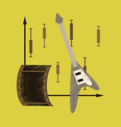 Flat shading style icon music and cinema vector