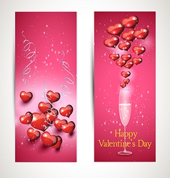 Flyers with glasses and a heart with a greeting s vector image