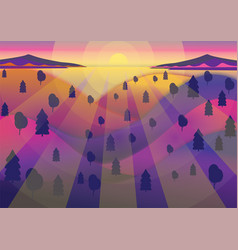 Forest sunset vector