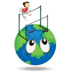 Girl and earth vector image
