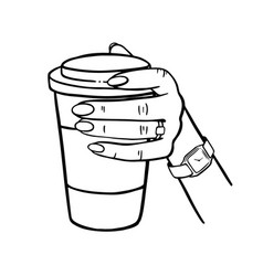 Girl holding a cup coffee monochrome vector