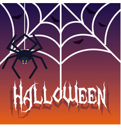 Halloween card with spider vector