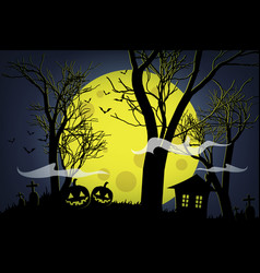 halloween pumpkins and dark house on yellow moon vector image