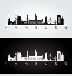 hamburg skyline and landmarks silhouette vector image