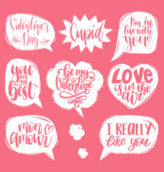 Hand lettering phrases love is in air vector