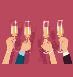 hands holding champagne glasses people celebrate vector image
