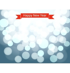 Happy New Year ribbon on silver bokeh background vector image