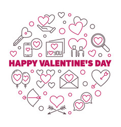 happy valentines day round in vector image