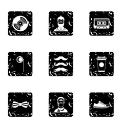 Hipster culture icons set grunge style vector