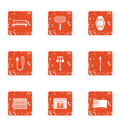 Home grill icons set grunge style vector