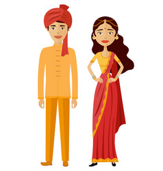 indian couple flat cartoon vector image