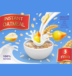 Instant oatmeal with pear ad milk flowing in bowl vector