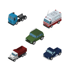 isometric car set of armored truck freight and vector image