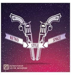 Just two revolver on space background vector image