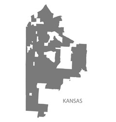 Kansas missouri city map grey silhouette shape vector