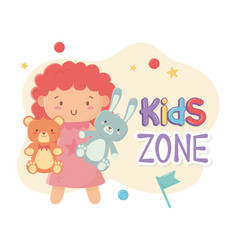 kids zone little doll with teddy bear and rabbit vector image