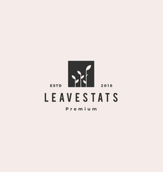 leaf bar chart statistics logo icon logo vector image
