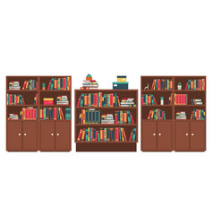 library book shelves room book stacks in vector image