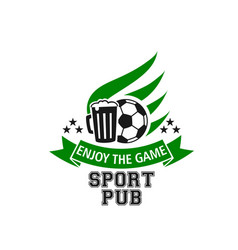 live soccer game sports beer pub icon vector image