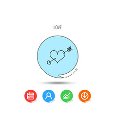 love heart icon amour arrow sign vector image