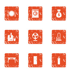 Lunch hour icons set grunge style vector