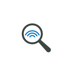 magnifying glass icon signal wifi icon vector image