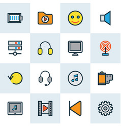 music icons colored line set with backward media vector image