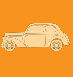 old classic car side view on orange background vector image