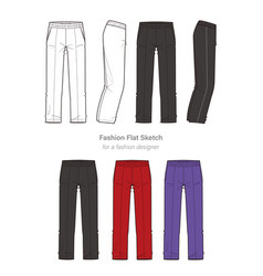 Pants fashion flat technical drawing template vector