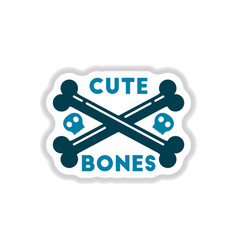 Paper sticker on background of cross bones vector