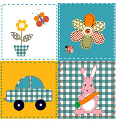Patchwork design with bunny car and flowers vector
